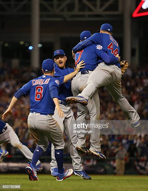 Chris Coghlan Kris Bryant and Anthony Rizzo of the Chicago Cubs celebrate after winning Game 7 of the 2016 World Series against the Cleveland Indians...