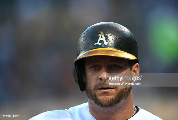 Chris Coghlan of the Oakland Athletics looks on from the ondeck circle against the Kansas City Royals in the bottom of the first inning at Oco...