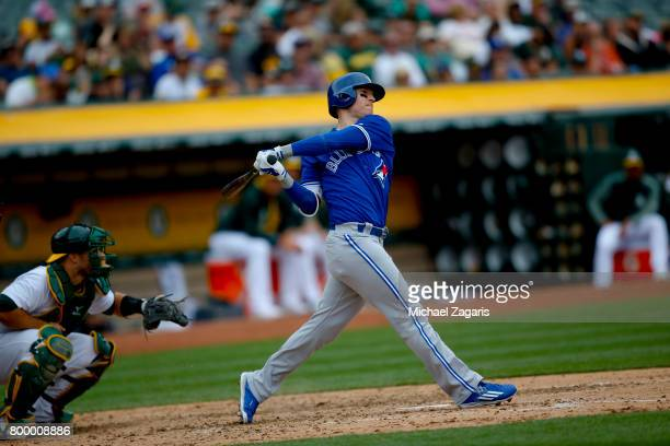 Chris Coghlan of the Toronto Blue Jays bats during the game against the Oakland Athletics at the Oakland Alameda Coliseum on June 7 2017 in Oakland...