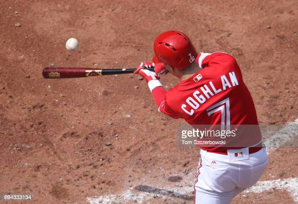 Chris Coghlan of the Toronto Blue Jays bats in the eighth inning during MLB game action against the Texas Rangers at Rogers Centre on May 28 2017 in...