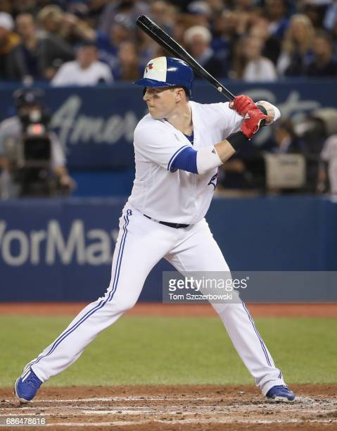 Chris Coghlan of the Toronto Blue Jays bats in the third inning during MLB game action against the Atlanta Braves at Rogers Centre on May 15 2017 in...