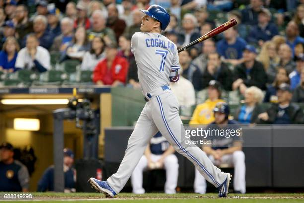 Chris Coghlan of the Toronto Blue Jays flies out in the second inning against the Milwaukee Brewers at Miller Park on May 24 2017 in Milwaukee...