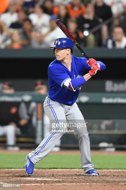Chris Coghlan of the Toronto Blue Jays prepares for a pitch a baseball game against the Baltimore Orioles at Oriole Park at Camden Yards on May 20...