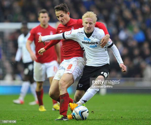 Chris Cohen of Nottingham Forest battles with Will Hughes of Derby County during the npower Championship match between Derby County and Nottingham...