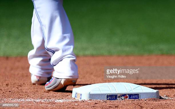 Chris Colabello of the Toronto Blue Jays plays first base in the sixth inning during a MLB game against the Boston Red Sox at Rogers Centre on...