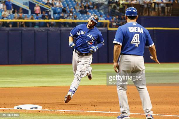Chris Colabello of the Toronto Blue Jays rounds third base after hitting a home run during the fourth inning of game between the Tampa Bay Rays and...