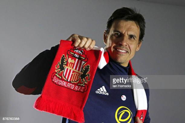 Chris Coleman holds a club scarf after being named as the new Sunderland manager at The Academy of Light on November 19 2017 in Sunderland England