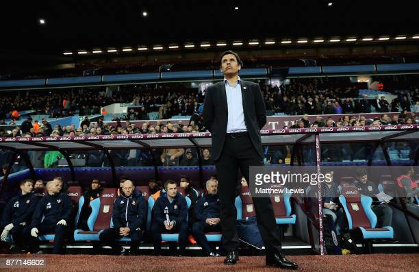 Chris Coleman manager of Sunderland looks on from the dug out during the Sky Bet Championship match between Aston Villa and Sunderland at Villa Park...