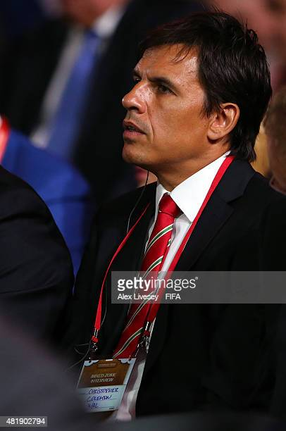 Chris Coleman manager of Wales attends the Preliminary Draw of the 2018 FIFA World Cup in Russia at The Konstantin Palace on July 25 2015 in Saint...