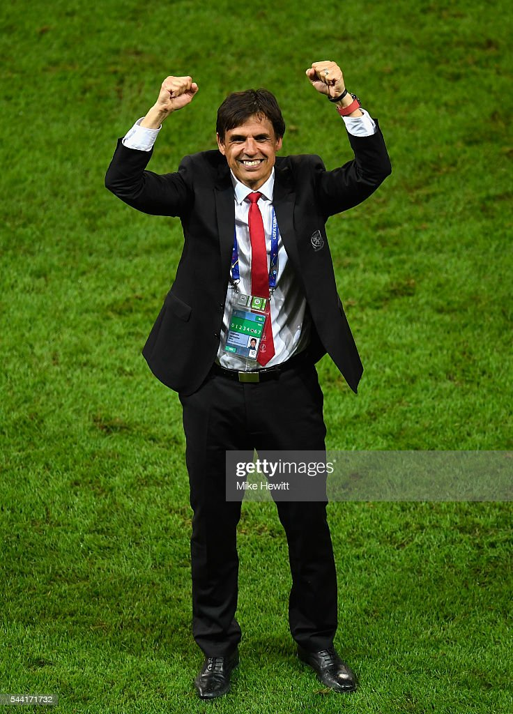 Chris Coleman manager of Wales celebrates his team's 3-1 win after the UEFA EURO 2016 quarter final match between Wales and Belgium at Stade Pierre-Mauroy on July 1, 2016 in Lille, France.