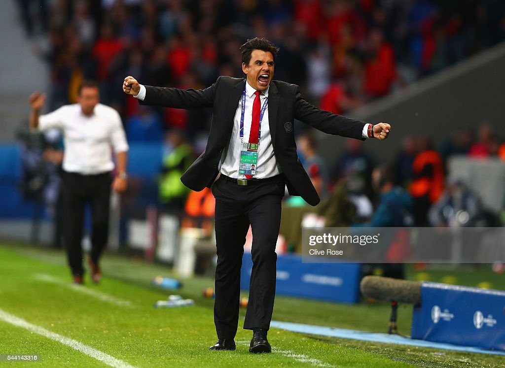 Chris Coleman manager of Wales celebrates his team's first goal during the UEFA EURO 2016 quarter final match between Wales and Belgium at Stade Pierre-Mauroy on July 1, 2016 in Lille, France.