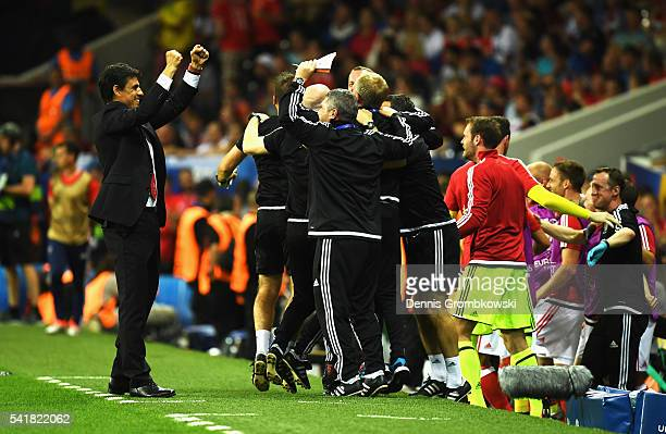 Chris Coleman manager of Wales celebrates his team's third goal during the UEFA EURO 2016 Group B match between Russia and Wales at Stadium Municipal...
