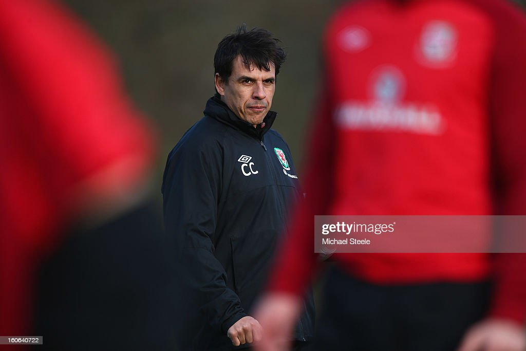 <a gi-track='captionPersonalityLinkClicked' href=/galleries/search?phrase=Chris+Coleman&family=editorial&specificpeople=200674 ng-click='$event.stopPropagation()'>Chris Coleman</a>, manager of Wales looks on during the Wales training session at Hensol Castle Park on February 4, 2013 in Cardiff, Wales.