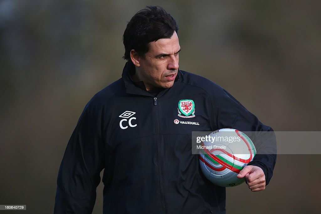 <a gi-track='captionPersonalityLinkClicked' href=/galleries/search?phrase=Chris+Coleman+-+Soccer+Manager&family=editorial&specificpeople=200674 ng-click='$event.stopPropagation()'>Chris Coleman</a>, manager of Wales looks on during the Wales training session at Hensol Castle Park on February 4, 2013 in Cardiff, Wales.