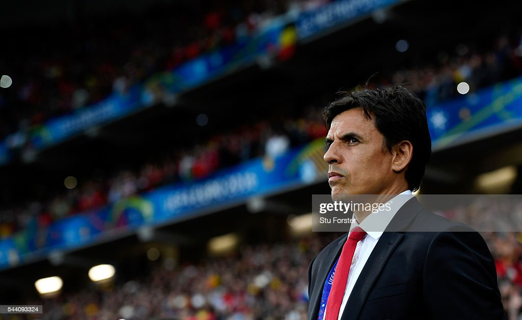Chris Coleman manager of Wales looks on prior to the UEFA EURO 2016 quarter final match between Wales and Belgium at Stade Pierre-Mauroy on July 1, 2016 in Lille, France.