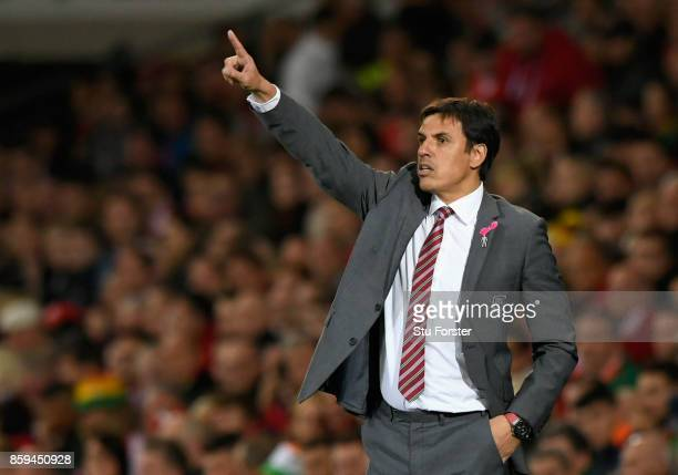 Chris Coleman Manager of Wales points during the FIFA 2018 World Cup Group D Qualifier between Wales and Republic of Ireland at the Cardiff City...