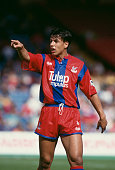 Chris Coleman of Crystal Palace reacts during a FA Premier League match against Norwich City at Selhurst Park on August 29 1992 in London England