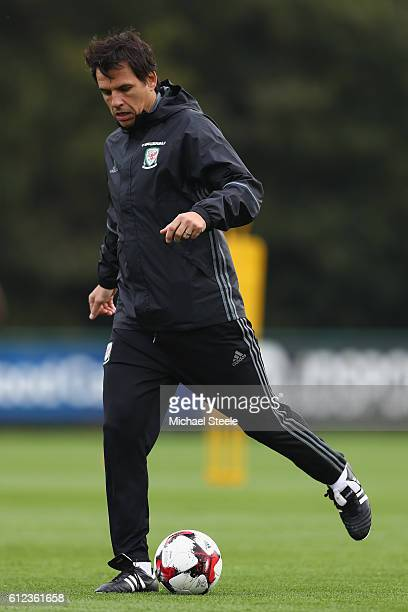 Chris Coleman the Wales manager during the Wales training session at Vale Resort on October 4 2016 in Cardiff Wales