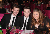 Chris Colfer Ashley Fink and guest attends the 21st Annual Elton John AIDS Foundation Academy Awards Viewing Party at West Hollywood Park on February...