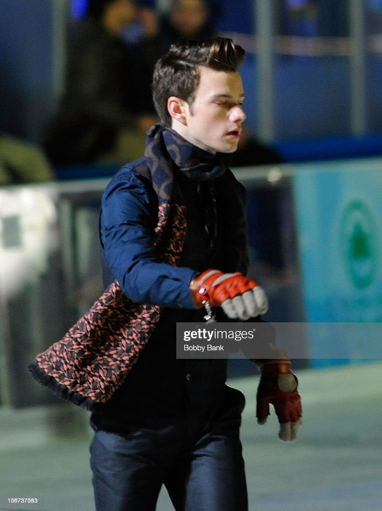 Chris Colfer filming on location for 'Glee' on November 19, 2012 in New York City.