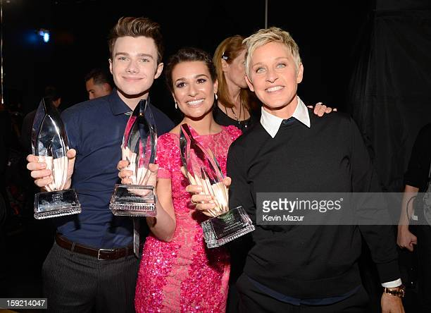 Chris Colfer Lea Michele and Ellen DeGeneres backstage during 2013 People's Choice Awards at Nokia Theatre LA Live on January 9 2013 in Los Angeles...