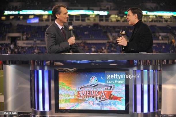Chris Collinsworth and Bob Costas broadcast live before the game betwen the Baltimore Ravens and the Pittsburgh Steelers at MT Bank Stadium on...