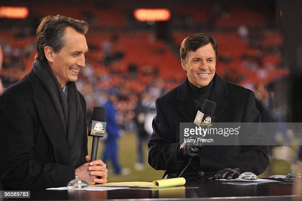 Chris Collinsworth and Bob Costas do the pregame show before the game between the Washington Redskins and the Dallas Cowboys at FedExField on...