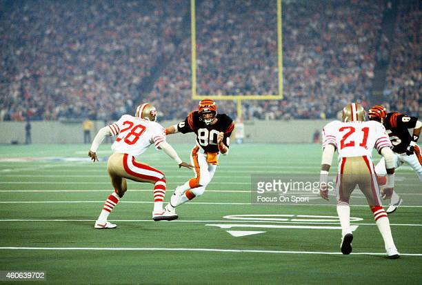 Chris Collinsworth of the Cincinnati Bengals in action against the San Francisco 49ers in Super Bowl XVI on January 24 1982 at the Silver Dome in...