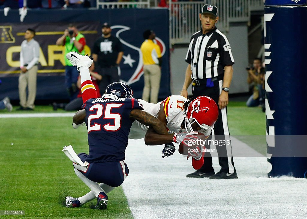 Chris Conley #17 of the Kansas City Chiefs scores a touchdown against Kareem Jackson #25 of the Houston Texans in the third quarter during the AFC Wild Card Playoff game at NRG Stadium on January 9, 2016 in Houston, Texas.