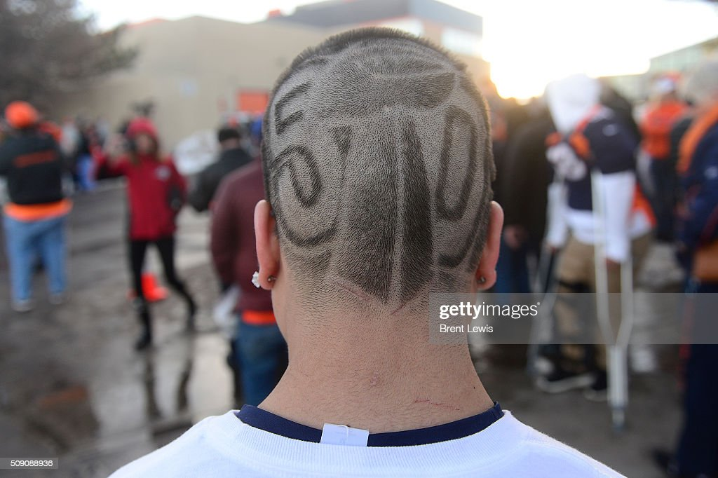 Chris Contreaz shows off his Super Bowl 50 haircut from, 5280 Barbers, at Dove Valley on February 8, 2016 in Centennial, Colorado. Fans cheered for the Denver Broncos when they returned home after defeating the Carolina Panthers to win Super Bowl 50.
