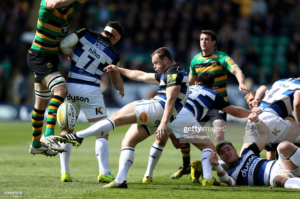 <a gi-track='captionPersonalityLinkClicked' href=/galleries/search?phrase=Chris+Cook+-+Rugby+Player&family=editorial&specificpeople=14054694 ng-click='$event.stopPropagation()'>Chris Cook</a> of Bath kicks the ball upfield during the Aviva Premiership match between Northampton Saints and Bath at Franklin's Gardens on April 30, 2016 in Northampton, England.