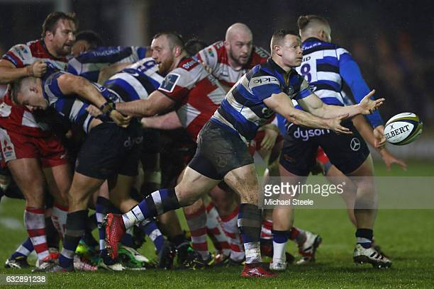 Chris Cook of Bath passes from a scrum during the Anglo Welsh Cup match between Bath Rugby and Gloucester Rugby at the Recreation Ground on January...