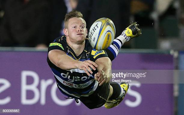 Chris Cook of Bath passes the ball during the Aviva Premiership match between Bath and Northampton Saints at the Recreation Ground on December 5 2015...