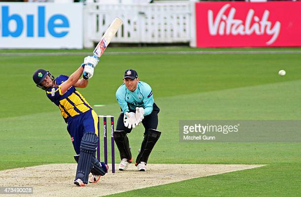Chris Cooke of Glamorgan hits the ball for six runs during the NatWest T20 blast match between Surrey and Glamorgan at the Kia Oval Cricket Ground on...