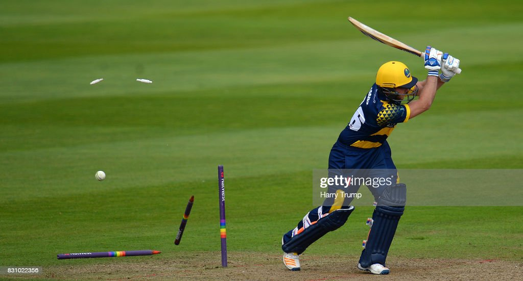 Chris Cooke of Glamorgan is bowled during the NatWest T20 Blast match between Somerset and Glamorgan at The Cooper Associates County Ground on August 13, 2017 in Taunton, England.