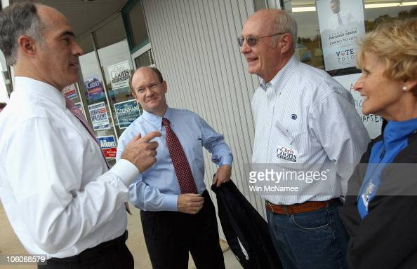 Chris Coons Democratic candidate for the US Senate in Delaware greets supporters while campaigning with Sen Robert Casey at the Brandywine...