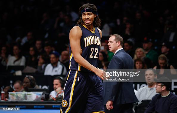 Chris Copeland of Indiana Pacers looks on during an NBA game against Brooklyn Nets on December 27 2014 at Barclays Center in Brooklyn New York