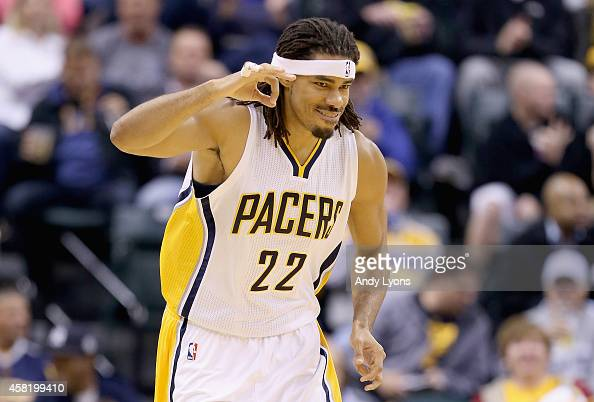 Chris Copeland of the Indiana Pacers celebrates after making a three point shot during the game against the Memphis Grizzlies at Bankers Life...