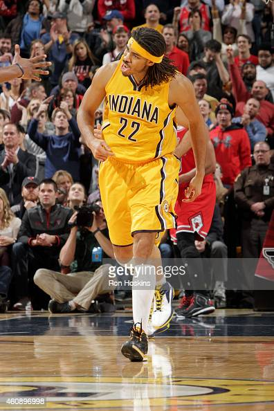 Chris Copeland of the Indiana Pacers celebrates during a game against the Chicago Bulls on December 29 2014 at Bankers Life Fieldhouse in...