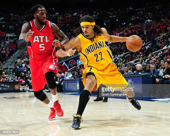 Chris Copeland of the Indiana Pacers defends the ball against DeMarre Carroll of the Atlanta Hawksduring the game on November 1 2014 at Philips...