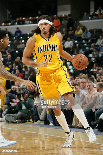 Chris Copeland of the Indiana Pacers drives against the Denver Nuggets on November 14 2014 at Bankers Life Fieldhouse in Indianapolis Indiana NOTE TO...