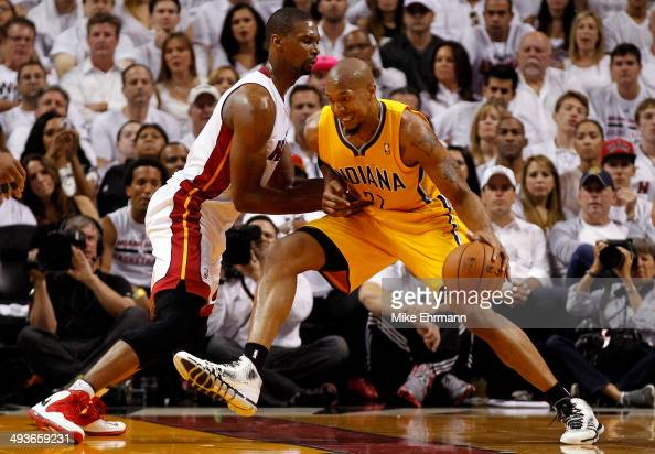 Chris Copeland of the Indiana Pacers drives to the basket against Chris Bosh of the Miami Heat during Game Three of the Eastern Conference Finals of...