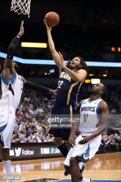 Chris Copeland of the Indiana Pacers drives to the basket against the Minnesota Timberwolves on February 19 2014 at Target Center in Minneapolis...