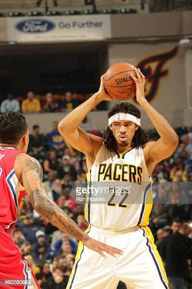 Chris Copeland of the Indiana Pacers handles the ball against the Los Angeles Clippers on December 10 2014 at Bankers Life Fieldhouse in Indianapolis...
