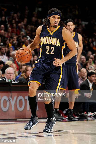 Chris Copeland of the Indiana Pacers handles the ball against the Cleveland Cavaliers on November 29 2014 at Quicken Loans Arena in Cleveland Ohio...