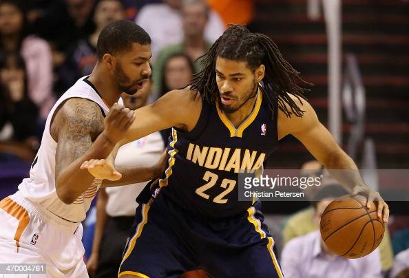 Chris Copeland of the Indiana Pacers handles the ball against the Phoenix Suns during the NBA game at US Airways Center on January 22 2014 in Phoenix...