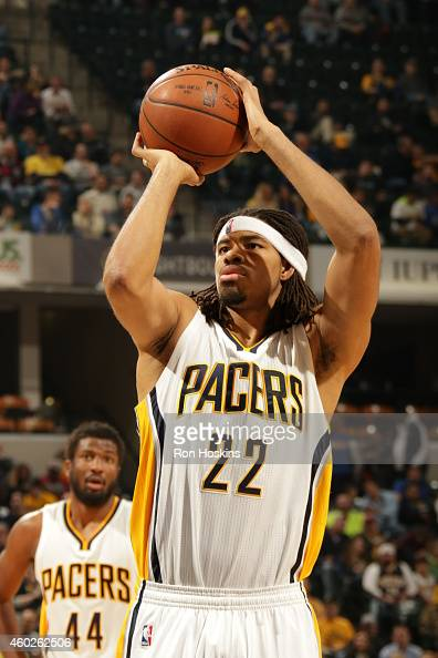Chris Copeland of the Indiana Pacers prepares to shoot a free throw against the Los Angeles Clippers on December 10 2014 at Bankers Life Fieldhouse...