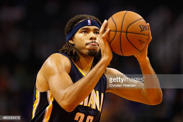 Chris Copeland of the Indiana Pacers shoots a free throw shot against the Indiana Pacers during the NBA game at US Airways Center on December 2 2014...