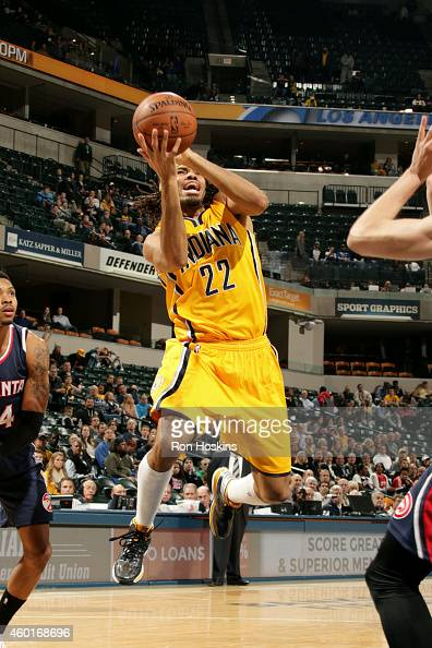 Chris Copeland of the Indiana Pacers shoots against the Atlanta Hawks on December 8 2014 at Bankers Life Fieldhouse in Indianapolis Indiana NOTE TO...