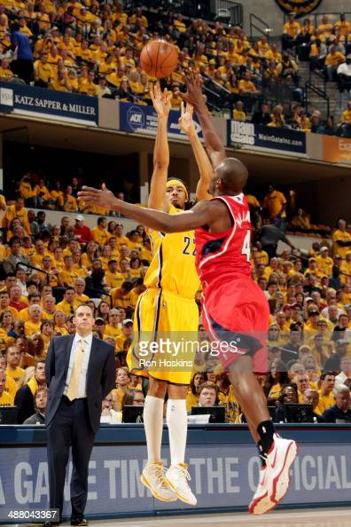 Chris Copeland of the Indiana Pacers shoots against the Atlanta Hawks in Game Seven of the Eastern Conference Quarterfinals of the 2014 NBA playoffs...